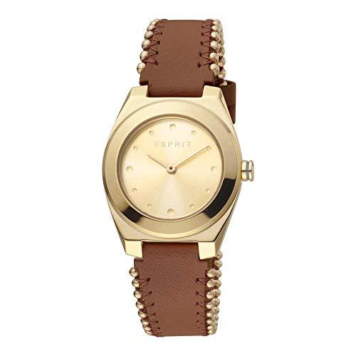 Esprit Reloj de pulsera para mujer, color dorado y marrón