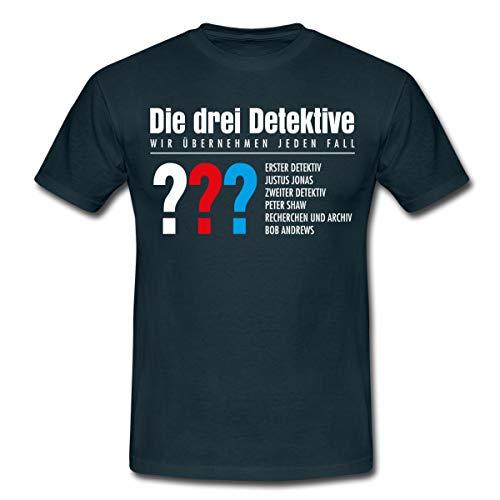 Die DREI Fragezeichen Detektive Visitenkarte Männer T-Shirt, S, Navy
