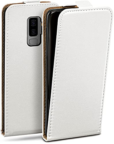 moex Flip Hülle für Samsung Galaxy S9 Plus - Hülle klappbar, 360 Grad Klapphülle aus Vegan Leder, Handytasche mit vertikaler Klappe, magnetisch - Weiß