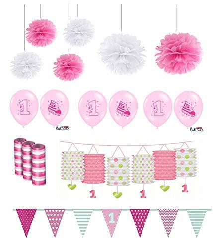 Feste Feiern Kindergeburtstag Mädchen erster 1. Geburtstag 17 Teile Deko-Set Laterne Luftballon Pompom Girlande Hängedeko Rosa Pink Happy Birthday 1 Jahr