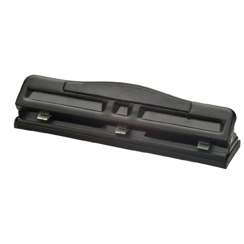 Officemate Adjustable 23 Hole Punch with Padded Handle 11 Sheet Capacity Black 90085