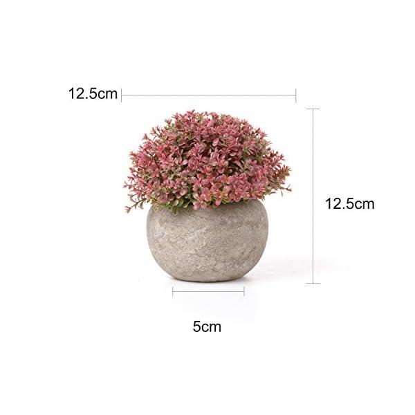T4U Plantas Artificiales Plásticas Flor Decorativa en Maceta Colorful para Oficina en Casa Paquete de 3