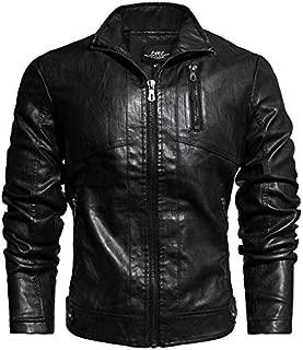 Men's Moto Leather Bomber Jacket Vintage Biker Motorcycle Coats Outerwear