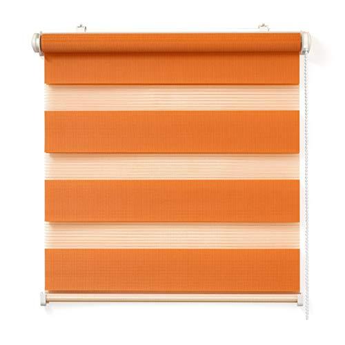 Doppelrollo, Orange, 85x150cm - Duo-Rollo Klemm Fix mit Klemmträger, Fenster-Rollo/Seitenzug-Rollo Ohne Bohren, lichtdurchlässig und verdunkelnd