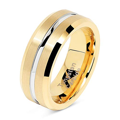Tungsten Rings for Mens Gold Wedding Bands Silver Grooved Two Tone 8mm Wide Size 6-16 (Tungsten, 12)