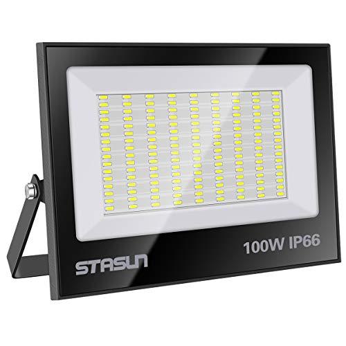 STASUN 100W LED Flutlicht Outdoor-Sicherheitsleuchte, 10000LM, 6000K Tageslichtweiß, IP66 Wasserdicht LED Strahler, Ideale Außenbeleuchtung für Garten, Garage, Hof ect.