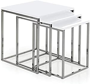 Home Discount Haute Finition Blanc Brillant Tables gigognes Moderne aztèque Gamme