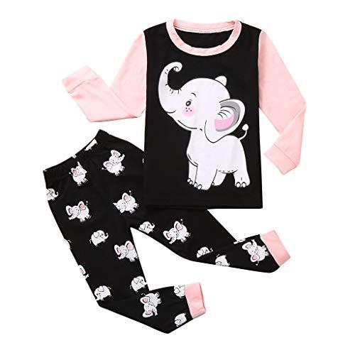 Huhu833 Kinder Zweiteiliger Schlafanzug Baby Mädchen Jungen Kaninchen Langarm Shirt Schlafanzughose Pyjama Set Cartoon Elefant Baumwolle Sleepwear (1-2 Jahre, Rosa)