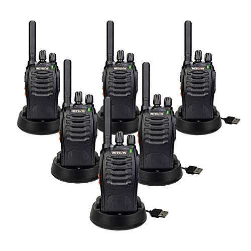 Retevis H-777 Walkie Talkies for Adults Long Range Hand Free Handheld Rechargeable Two Way Radio Business 2 Way Radios with USB Charger (6 Pack)