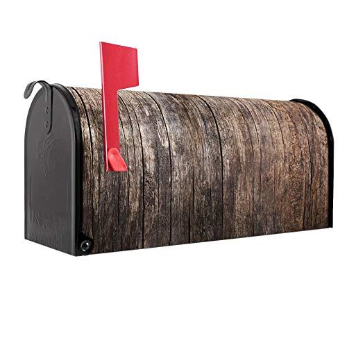 BANJADO US Mailbox | Amerikanischer Briefkasten 51x22x17cm | Letterbox Stahl schwarz | mit Motiv Altes Holz