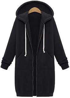 Women's Long Hoodies Casual Zip Up Cardigan Coat Ladies Long Sleeves Hooded Sweatshirt Warm Autumn Pullover Jumper Knee-Le...