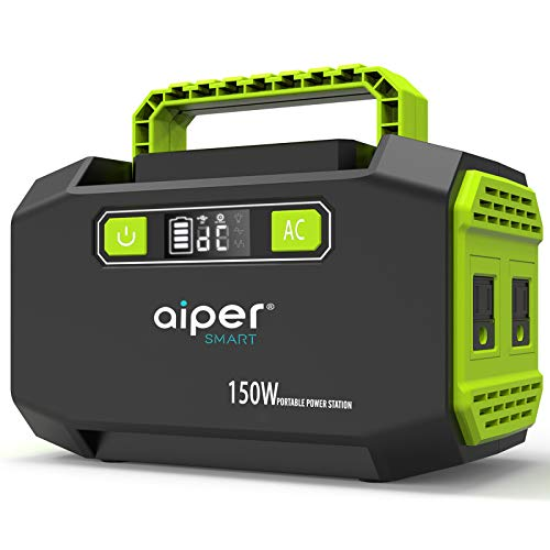 Aiper 150W Portable Power Station 167Wh 45000mAh Lithium Battery Backup Power supply with Dual 110V AC Outlet, 3 DC Ports, 2 USB Outputs for Home Emergency Camping Outdoors