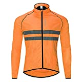 Comcrib Men's Cycling Rain Jacket Breathable Reflective Lightweight Rain Coat Waterproof Jacket for Cycling Jogging and Hiking