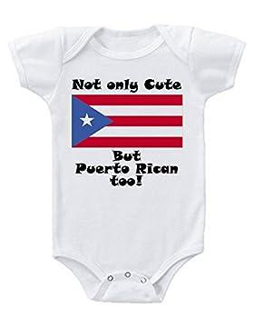 Carpe Diem Designs Cute and Puerto Rican Too Baby Onesie 6-9 Months White