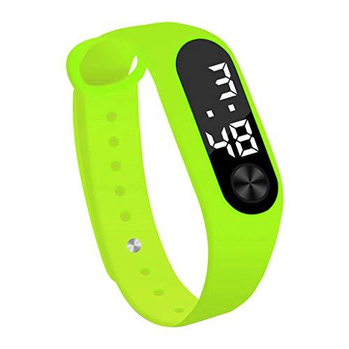 Abstand Sportuhr FGHYH Armbanduhr Herren Mode Digital LED Unisex Silikon Band Armbanduhren Herren Uhr Watch Armbanduhr(Grün)