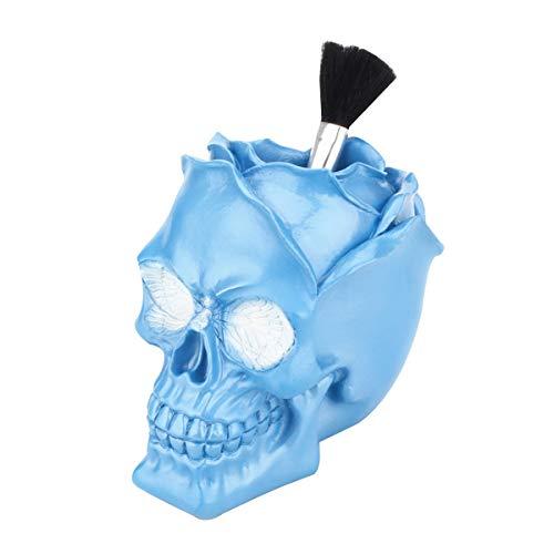 UnionKK Creative Skull Head Makeup Brush Holder,Make Up Brush Case,Organizer Cosmetic Organizer,Pen Holder for Bathroom,Dressing room,Desk,Dorm (Blue Skull)