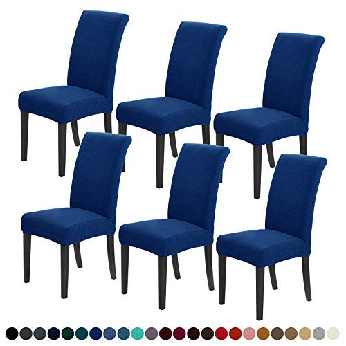 Joccun Chair Covers for Dining Room Set of 6,Water Repellent Dining Chair Slipcovers Stretch Dining Room Chair Covers Seat Protector,Washable Parsons Chair Cover for Home,Banquet(Classic Blue,6 Pack)