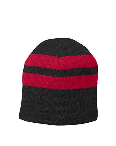 Port & Company Fleece-Lined Striped Beanie Cap C922 -Black/ Athle OSFA