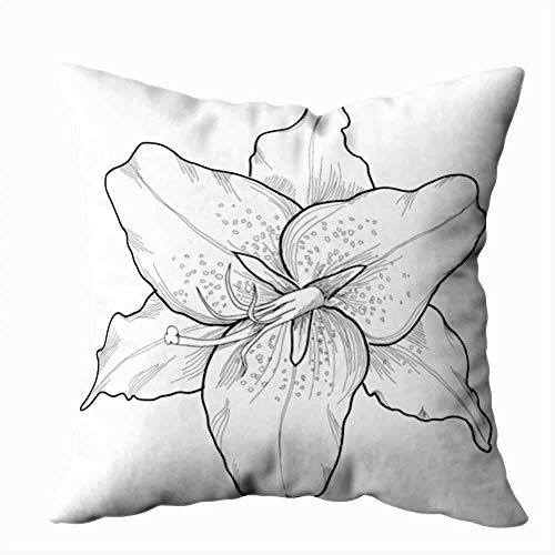 Funda de almohada para el hogar, 50,8 x 50,8 cm, hermoso lirio en el estilo, negro y blanco, grabado, muchos perfiles, decoración de artistas, fundas de almohada con cremallera para sofá cama
