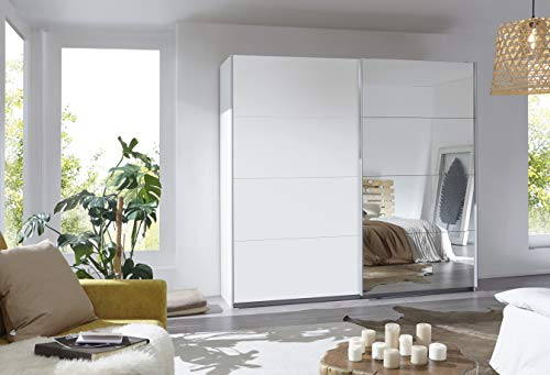 Rauch Möbel Caracas Schrank Kleiderschrank Schwebetürenschrank Weiß mit Spiegel 2-türig inkl. Zubehörpaket Basic 2 Einlegeböden, 2 Kleiderstangen, BxHxT 226x210x62 cm