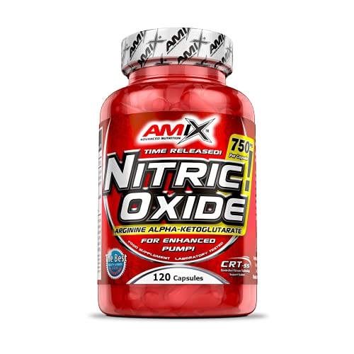 AMIX - Complemento Alimenticio - Nitric Oxide - 120 Cápsulas - Suplemento de Óxido Nítrico - Efecto Vasodilatador - Reduce la Fatiga - Complemento a base de L-arginina