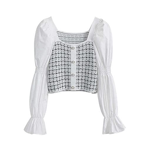 Diaod Slim Short Pearl Button Patchwork Plaid Camisa Amarreada Manga Larga Cuello Cuadrado Blusa Superior (Color : 02-White, Size : A-Large)
