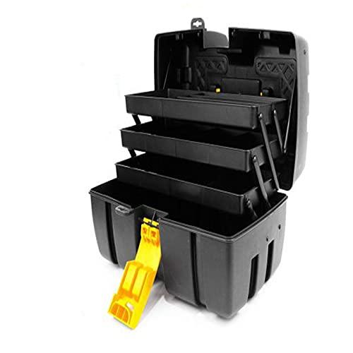 Caja de herramientas de plástico con 3 bandejas de almacenamiento de 20 x 36 x 19,5 cm .Arcón especial para bricolaje con distintas divisiones para guardar o almacenar utensilios.