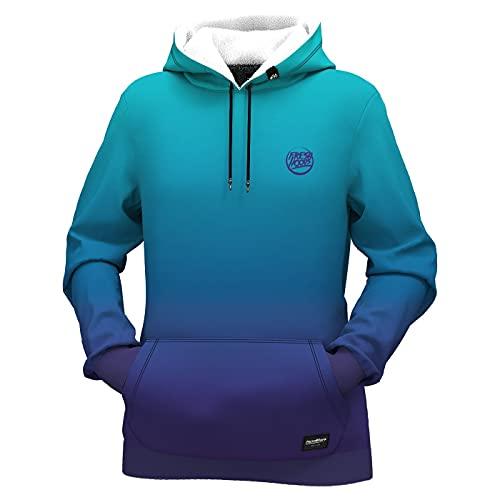 Fresh Hoods Damen-Kapuzenpullover, langärmelig, 3D-Druck, Sweatshirts für Damen, blue lagoon, 36