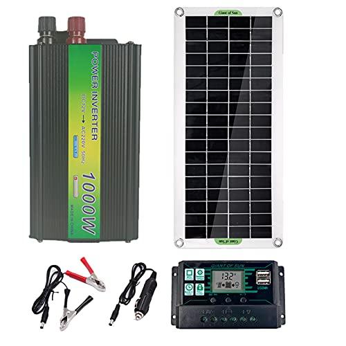 CHJAA Kit de Panel Solar, Kit de Cargador de batería de Panel Solar, Módulo fotovoltaico monocristalino de 30W 5V, 12V y 12-18V, para Coche RV Marine Boat Caravan Off Grid System