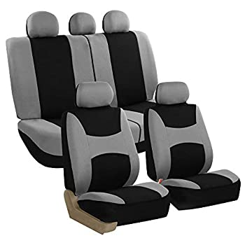 FH Group - FB030GRAYBLACK115-SEAT FB030GRAYBLACK115 full seat cover  Side Airbag Compatible with Split Bench Gray/Black