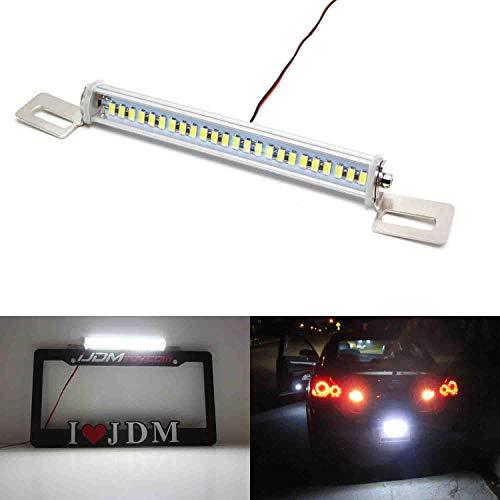 iJDMTOY 35-074-White License Plate Frame Mount 12V 24-SMD High Power Xenon White LED Rear Backup Reverse Light Kit For Car SUV Truck VAN RV