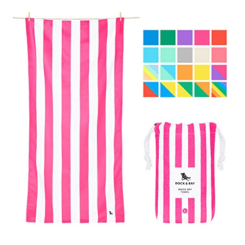 Dock & Bay Compact Beach Towel for Kids - and Adults, Travellers, Swimmers - Phi Phi Pink, Large (160x80cm, 63x31) - Lightweight Towel Includes Travel Pouch
