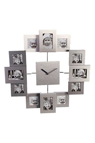 Orologio da parete in alluminio con 12 portafoto; misure 2 da 5...