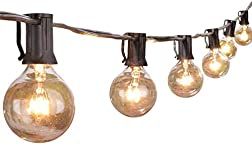 Outdoor String Lights 25 Feet G40 Globe Patio Lights with 27 Edison Glass Bulbs(2 Spare), Waterproof ConnectableHanging Light for Backyard Porch Balcony Party Decor, E12 Socket Base,Black