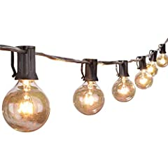 【Dimmable Compatible & Energy Saving】G40 outside string light come with 25 glass bulbs and 1 spare bulb. 1.5 inch light bulbs have E12/C7 candelabra socket base, 5W per bulb, warm white dimmable string light help you to save more electricity bid. 【Co...