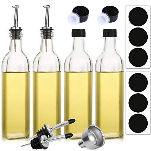 Aozita 4Pack 17oz Glass Olive Oil Dispenser Bottle  500ml Clear Oil amp Vinegar Cruet with Pourers and Funnel  Olive Oil Carafe Decanter for Kitchen
