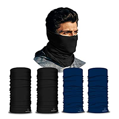 ARMORAY Neck Gaiter Face Mask - 4 Pack Reusable & Washable Cloth Face Cover, Bandana, Shield & Scarf for UV, Sun & Dust Protection - Outdoor Head Wrap for Fishing Motorcycle Riding (BLACK+NAVY 4 Pack)