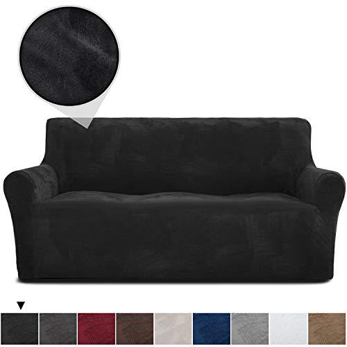 RHF Velvet-Sofa Slipcover, Stretch Couch Covers for 3 Cushion Couch-Couch Covers for Sofa-Sofa Covers for Living Room,Couch Covers for Dogs, Sofa Slipcover,Couch slipcover(Black-Sofa)