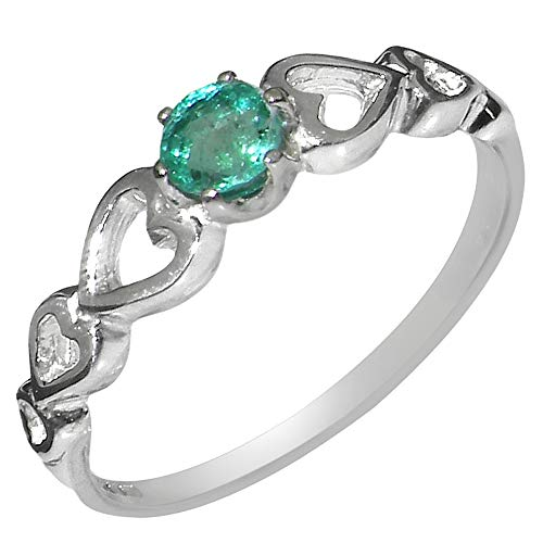 9ct White Gold Natural Emerald Womens Statement Ring - Size L - Sizes J to Z Available