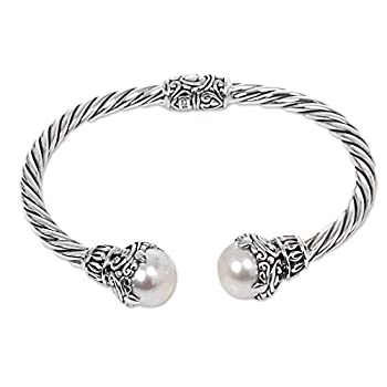 NOVICA Silver White Cultured Freshwater Pearl .925 Silver Cuff Bracelet  Sterling Rope