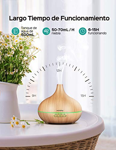 VICTSING 7-Color LED, 4 Temporizador Humidificador...