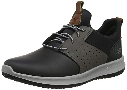 Skechers Mens DELSON AXTON Trainers, Black (Black Gray Leather Bkgy), 8 (42 EU)