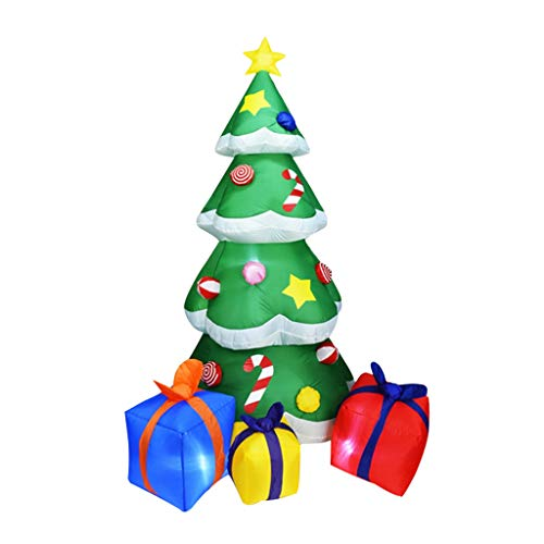 Gxnimer 7ft Lighted Inflatable Christmas Tree Gift Boxes Decorations, Self-inflates Blow Up with Fan, Indoor Outdoor Christmas Yard Prop