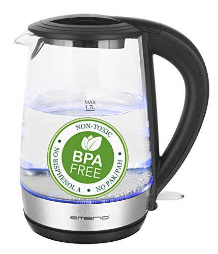 Emerio WK-123131, Glas Wasserkocher 1.7L, BPA frei, bestes Borosilikatglas, 2200 Watt, schöne blaue LED Beleuchtung, Auto Off, Überhitzungsschutz, mit hochwertigem Edelstahl abgedecktes Heizelement