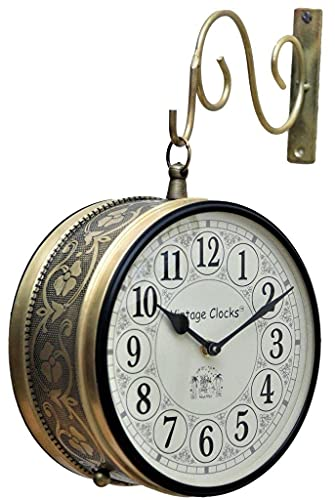 Vintage Clock Double Side Clock with Brass Finish (Railway Style, 6 Inches 15x15 cm Size)