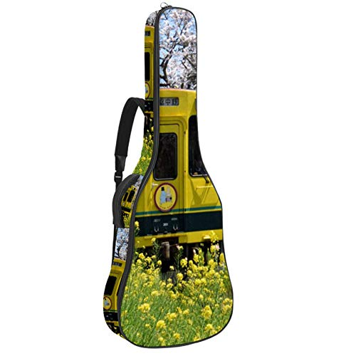 Bolsa de guitarra con diseño de tren de Japón con flores de...