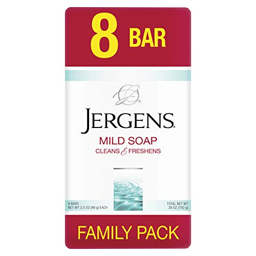 Jergens Mild Soap, Lightly Scented Gentle Cleansing Soap, For All Skin Types, 3.5 oz, 4 count, 8 pack (32 bars total)