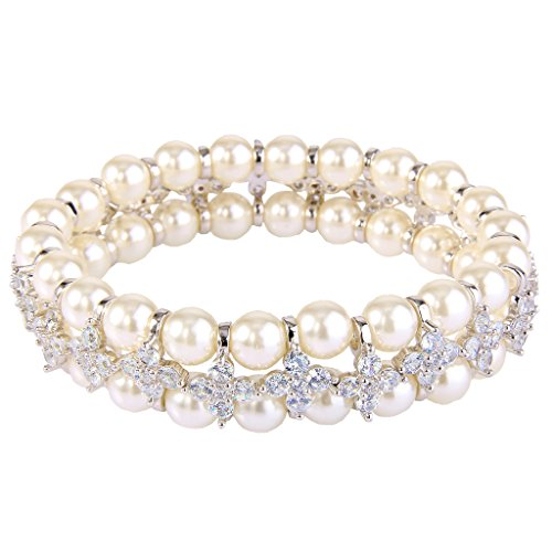 EVER FAITH Women's CZ Cream Simulated Pearl 2 Layers Floral Elastic Stretch Bracelet Clear Silver-Tone
