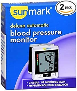 Sunmark Deluxe, Wrist Blood Pressure Monitor - 1 ct, Pack of 2