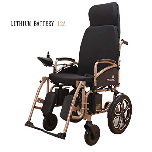 Y-L Senioren handicure elektrische senioren gehandicapte rolstoel Intelligent automatisch opvouwbaar licht compacte draagbare afstandsbediening reizen senioren scooter, goud, 12A, goud,